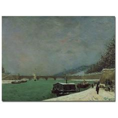 """Trademark Art """"The Seine at Pont D'lena Winter"""" by Paul Gauguin Painting Print on Wrapped Canvas Size:"""