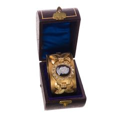 Victorian Cameo Pearl Gold Cuff Bracelet in Original Box | From a unique collection of vintage cuff bracelets at https://www.1stdibs.com/jewelry/bracelets/cuff-bracelets/