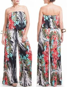 SEXY PLUS SIZE FLORAL PRINT STRAPLESS JUMPSUIT TUBE LOOSE FITTING FULL WIDE LEG #MILANOUSA #Jumpsuit