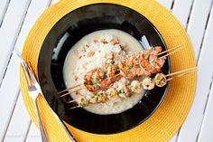 Grillatut tiikeriravut ja kampasimpukat kantarellirisotolla  Grilled Tiger Prawns and Scallops with Chanterelle Risotto