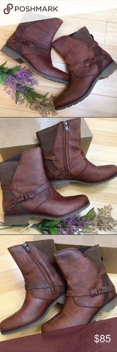 TEVA waterproof leather boots, 8.5. TEVA waterproof leather short boots, size 8 1/2. New, but with occasional marks in the leather. Warm midrange brown color. Totally perfect for fall! Teva Shoes Ankle Boots & Booties
