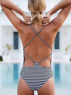 Farrah One Piece Striped Swimsuit | American made striped one piece swimsuit featuring a plunging V-neckline. * Open strappy back * Cheeky bottom fit * Hight cut silhouette