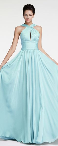 9c969b169b1 Light Blue Flowing Chiffon Long Prom Dresses