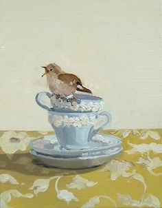 ♞ Artful Animals ♞ bird, dog, cat, fish, bunny and animal paintings - Susan Homer, Stacked Teacups and Wren, 2005