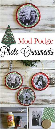 Photo Christmas ornaments are a very simple craft with the aid of Mod Podge by Our Southern Home Make easy Mod Podge photo ornaments for 31 Days of Handmade Ornaments via Our Southern Home Picture Ornaments, Photo Christmas Ornaments, Personalized Christmas Ornaments, Handmade Ornaments, Christmas Crafts For Kids, Diy Christmas Gifts, Christmas Photos, Holiday Crafts, Christmas Holidays