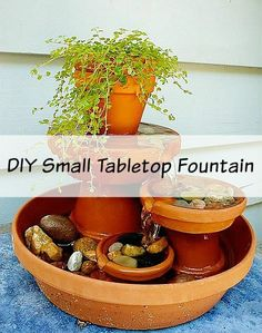 Genial DIY Small Fountain From Clay Pots