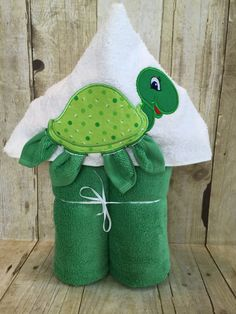 "Turtle Applique Hooded Bath, Beach Towel 30"" x 54"" by MommysCraftCreations on Etsy"