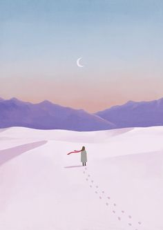 A girl who stands on the snow Art And Illustration, Fuchs Illustration, Gravure Illustration, Illustrations And Posters, Wallpaper Animes, Minimalist Wallpaper, All Nature, Anime Scenery, Aesthetic Art
