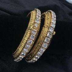 Kada Bangles with White Square Stone Avaliable in Size: Gold Bangles Design, Jewelry Design, India Jewelry, Gold Jewelry, Diamond Bangle, Wedding Jewelry, Antique Jewelry, Bangle Bracelets, Jewelery