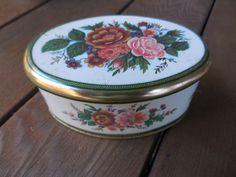 Vintage 1960s to 1970s Small Meister Floral Oval Tin. Made in Brazil