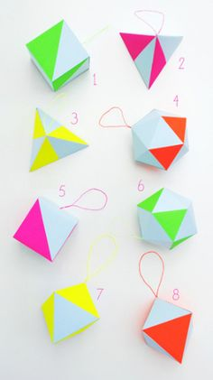 Creative: Eleven More Awesome Neon DIYs  I love these! >Paper-craft kit (Features pastel & neon geometric decorations) via Mini-eco