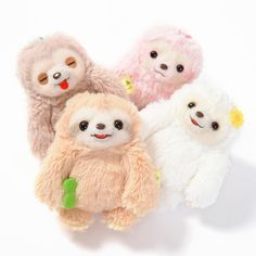 """The lazy sweeties of the Namakemono no Mikke character series are taking it easy for these small Mattari Hi ball chain plushies! At an approximate size of 3.9"""" by 2.4"""" by 3"""", the lineup includes Mikke, Momoko, Futtan, and Fuuko, but if you don't want to separate them, you can also get them as a complete set! Their long arms and fluffy fur make them perfect for carrying around and giving hugs to, so let them join you the next time you're relaxing on the couch and taking it easy! They're a..."""