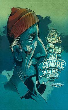 Gorgeous illustration of Jacques Cousteau by César Moreno