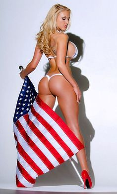 Naked girl in red white and blue