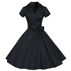 Find Dress Rétro Vintage années 50 's Style Audrey Hepburn Rockabilly Swing, Robe de Bal à Manches Courtes Noir S