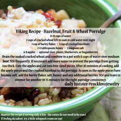 Viking Recipe - Hazelnut, Fruit and Wheat Porridge Medieval Recipes, Ancient Recipes, Viking Food, Nordic Recipe, Norwegian Food, Scandinavian Food, Good Food, Yummy Food, Vintage Recipes