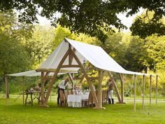 That's a nice place for an al fresco dinner party! The Marqueen from Rasenberg, in the Netherlands Pergola, Gazebo, Tent Camping, Glamping, Viking Tent, Timber Frame Cabin, Patio Grill, Tent Design, Outdoor Settings