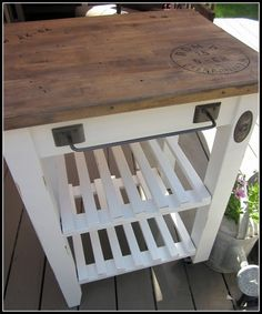 Unfinished kitchen cart to this!  I have unfinished bookcases that I can't wait to try this on!