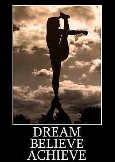 """Motivational cheerleading poster of a single based bow and arrow flyer stretch with a phrase that reads """"Dream Believe Achieve"""" <br /> Measures 33 x 23.5 inches/A1"""