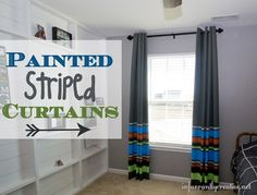 Can't find the perfect curtains in the colors you want? Paint your own! These DIY painted stripe curtains were made using inexpensive panels from IKEA.