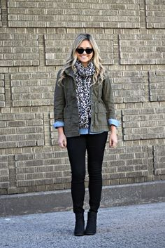 Black denim, Chambray shirt, Army Green Jacket and Animal Print Scarf. Great layered look for fall!