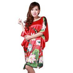 Nueva Llegada Rojo Femenino Salón de Verano de Las Mujeres de Seda del Camisón Rayon Robe Bath Vestido de Flores Vestido de Ropa Para El Hogar Más El Tamaño 6XL S0104