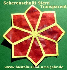 Scherenschnitt Stern gelb orange