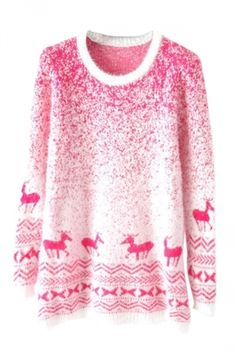 http://www.bonanza.com/listings/Free-Shipping-Pink-Mohair-Reindeer-Pullover-Gradient-Ugly-Christmas-Sweater/219784035
