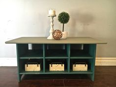 Green & Taupe Coffee Table - Baskets Included! - $215 - SOLD