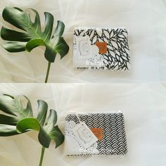 Monochrome pouch with lace wrapping