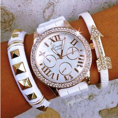Arm Candy <3 #ArmCandy #white #watches | http://watchesinthemovies.com