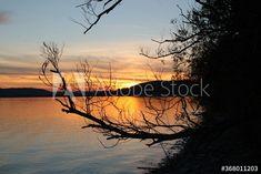 Sunset On The Lake – kaufen Sie dieses Foto und finden Sie ähnliche Bilder auf Adobe Stock | Adobe Stock Celestial, Sunset, Photography, Outdoor, Image, Pictures, Outdoors, Photograph, Fotografie