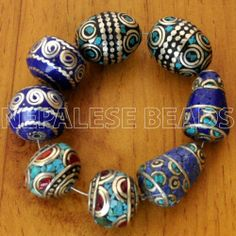 Turquoise Coral Lapis 8 Beads from Nepal by Eksha Limbu