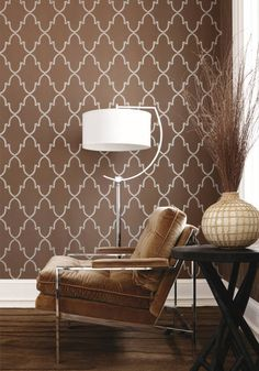 Julian wallpaper in metallic on brown from the Filigree collection byThibaut
