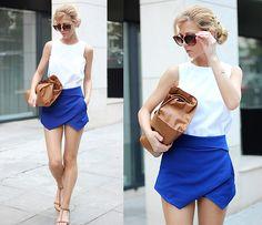 Choies White Vest With Zip Back, Zara Skort, Zara Sandals, Zara Clutch, H Sunglasses, H Bracelet