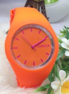 Geneva Fashion Watch - Wholesalers Sample - Save $$ RRP$115 - Tangerine/Hot Pink Geneva, Fashion Watches, Bracelet Watch, Hot Pink, Clock, Unisex, Accessories, Ebay, Watch