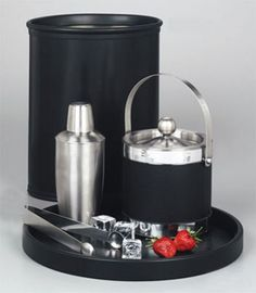 The mix of Black and Silver fits any decor. *Ice Buckets can be ordered without handles for $1.60 each less. Many more products and styles available. Items in this set are sold separately: wastepaper bucket, cocktail shaker, ice bucket, round tray, ice tongs.
