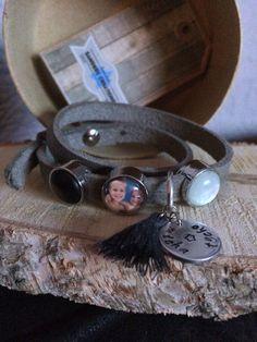 Cuoio armband met geslagen bedel en polaris color slider en foto sliders
