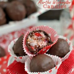 Martha Washington Candies Recipe Desserts with butter, powdered sugar, vanilla extract, shredded coconut, sweetened condensed milk, cocktail cherries, chopped pecans, chocolate