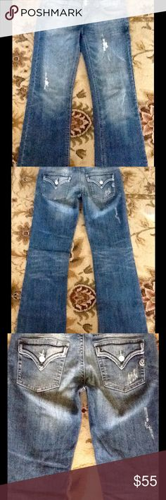 """Vigoss denim size 5 slight Boot Cut HUGE DISCOUNT These VIGOSS Denim jeans are as close to perfect as they get. For those of us who know denim know these deals don't come along that often! Inseam 30"""", front rise 9"""", back rise 12"""",  they are intentionally distressed as seen in pictures. No bottom fraying at the bottom of the legs. Like new! Front and back pockets signature back tab Vigoss pockets. Vigoss Jeans Boot Cut"""