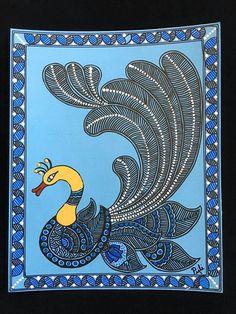 Dancing peacock in madhubani style Art Lessons, Peacock Painting, Art Painting, Worli Painting, Fabric Painting, Indian Folk Art, Mini Canvas Art, Madhubani Painting, Kalamkari Painting