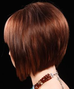 Medium Straight Formal Bob Hairstyle - Dark Red - side view
