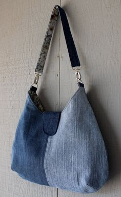 Denim Patch Handbag with Silver Lobster Hook Strap, Two Interior Pockets, Large Back Zipper Pocket and Lined with Floral Cotton - 400026915 by AllintheJeans on Etsy