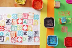 DIY Art Materials: How to Make a Stamp - home made stamps and stamp arts for baby/kid room walls