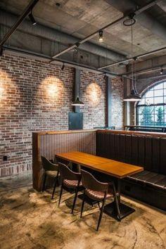 The setting cartoon[Biscuit] Bakery Decor, Industrial Restaurant, Restaurant Interior Design, Restaurant Ideas, Green Ash, Industrial Interiors, Cafe Bar, Interior Styling, Modern Architecture