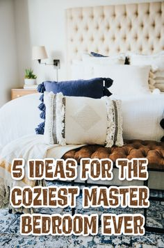 5 Ideas for the Coziest Master Bedroom Ever Bedding Master Bedroom, Large Bedroom, Hours Of Sleep Needed, Reclaimed Headboard, Home Improvement Show, Oak Panels, Calming Colors, Textured Wallpaper, Home And Living