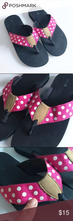 J. Crew pink flip flops with white polka dots Gently used in overall very good condition, has a small light spot as shown but only other real wear is on on bottom of flip flop which cannot be seen when worn. J. Crew Shoes Sandals