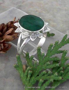 Indian Emerald Gemstone 925 Sterling Silver by CedarCreekCanada, $89.95