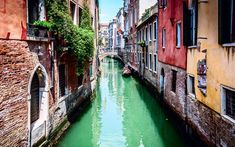 Download wallpapers Venice, summer, canal, Italy, old town, boat, tourism, old houses