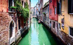 Descargar fondos de pantalla Venecia, de verano, de canal, de Italia, de la ciudad vieja, barco, turismo, casas viejas